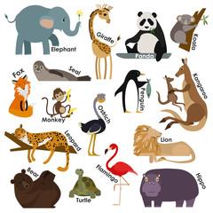 Set of zoo cartoon animals. Flat style design icons set.