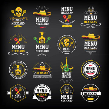 Menu mexican logo and badge design.