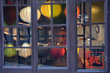 Chinese lanterns in the window