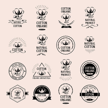 Cotton badges design, organic product.
