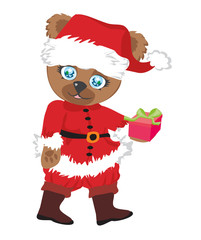 cute brown bear in red Santa's costume isolated