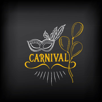 Circus and carnival vintage design, label elements.