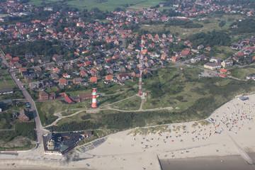 Luftbild des Südstrandes auf Borkum