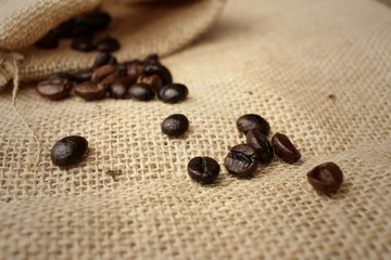 Coffee beans on background of brown fabric