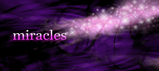 Miracles background - white purple swirling lines background with the word MIRACLES on left side and glittering sparkles merging with the word