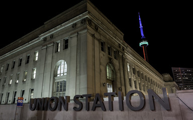 Union Station Toronto Night. Union Station as seen from the outside at night at Bay and Front streets in Toronto, Canada.
