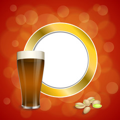Background abstract red gold drink glass dark beer pistachios circle frame illustration vector