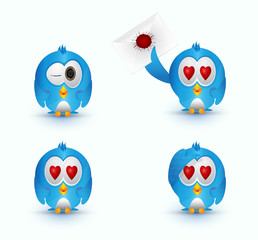 set blue cute bird love eye