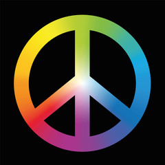 Peace sign with circular rainbow gradient coloring. Vector illustration on black background.