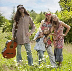 Hippie styled family outdoors