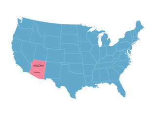 blue vector map of United States with indication of Arizona