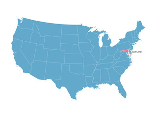 blue vector map of United States with indication of Maryland