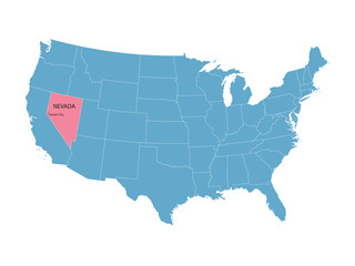 blue vector map of United States with indication of Nevada