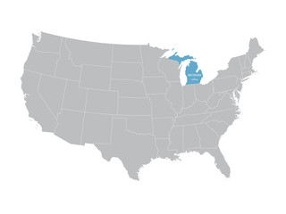 vector map of United States with indication of Michigan