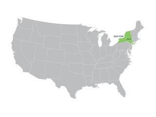 vector map of United States with indication of New York