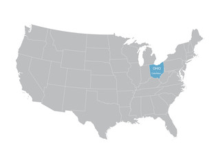 vector map of United States with indication of Ohio