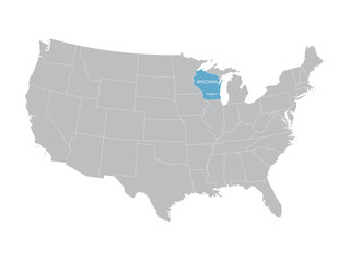 vector map of United States with indication of Wisconsin