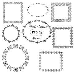 Set of circle polynesian tattoo styled frames