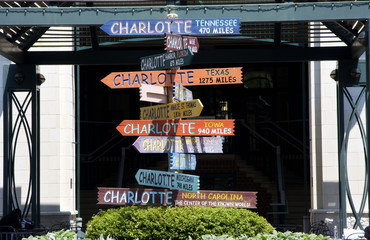 Charlotte Signs on The Green in Uptown Wall mural