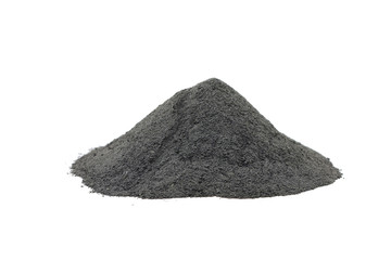 bunch of black powder pulp on a white background