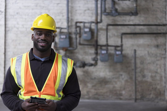 Portrait of an African American Construction worker