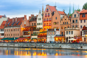 Fototapete - Old Town and Motlawa River in Gdansk, Poland