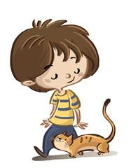 niño con gato paseando
