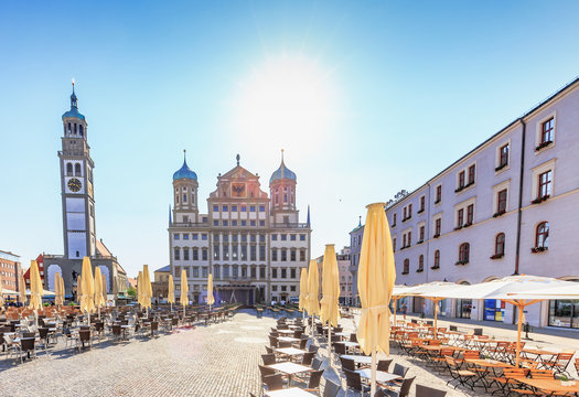 Augsburg City in Bavaria, Germany. Outdoor travel Pictures from Public Places on a hot summer day
