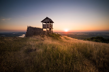 Wooden Tourist Observation Tower at Beautiful Sunset