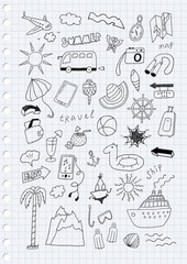 Travel hand drawn cartoon set on lined page