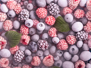 Frozen assorted berries background