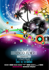 Club Disco Flyer Set with LOW POLY DJs and Music backgrounds