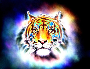 mighty tiger head, soft toned abstract background eye contact