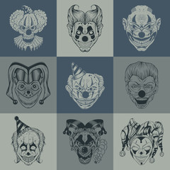 Set of nine images with painted fantastic scary clown.