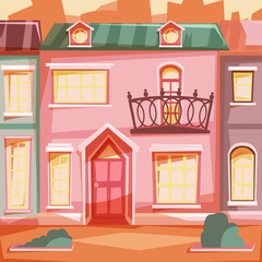 City houses facades sunset. Vector illustration.
