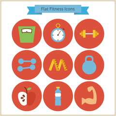 Flat Sport and Fitness Icons Set