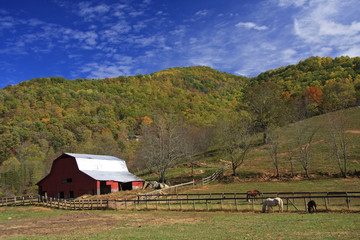Red Barn in the Mountains