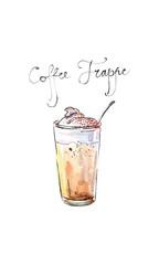 Watercolor vector coffee frappe