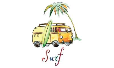 Watercolor vector surfing car