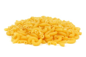 Pile of uncooked dry macaroni pasta isolated on a white background