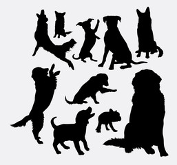 Dog and puppy animal silhouettes