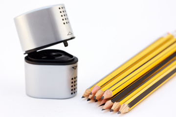 sharpener and pencils
