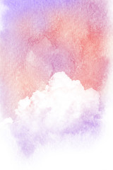 Watercolor illustration of cloud.