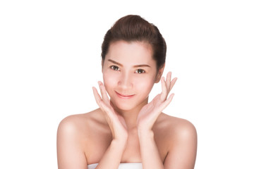 Beautiful woman cares for the skin face, Attractive asian woman Touching her Face, Perfect Fresh Skin, Pure Beauty Model. Youth and Skin Care Concept, , isolated on white with clipping path.