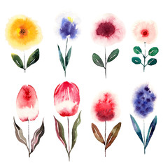 Watercolor cartoon flowers set. Vector illustration