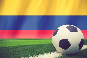soccer ball on columbia flag vintage color