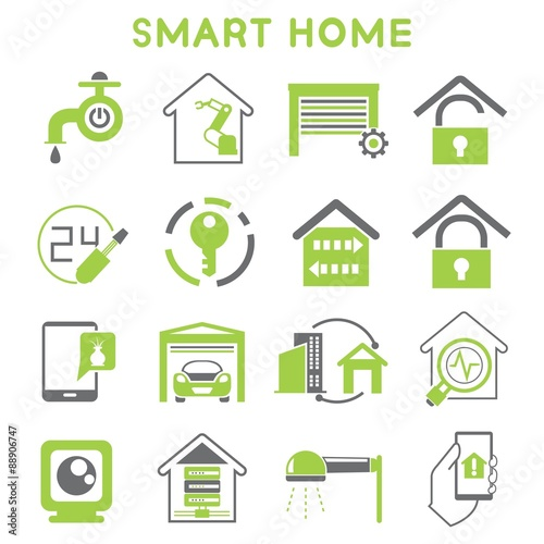 smart home icons set green design stock image and royalty free vector files on. Black Bedroom Furniture Sets. Home Design Ideas
