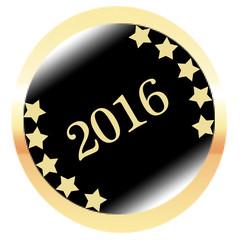 Runder 2016 Button in gelb schwarz auf weißem Hintergrund