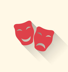 Flat icons of comedy and tragedy masks for Carnival or theatre