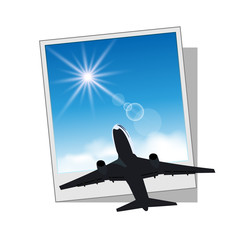 Photo frame with plane and sky